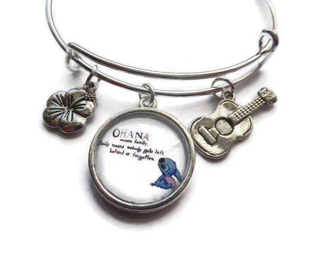 Ohana bangle, family bangle, ohana family gift, novelty gift, ohana bracelet, guitar bracelet, sea bracelet, hibiscus flower gift,