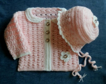 Baby Girl Sweater and Matching Bonnet Crochet Pattern 12months PDF file