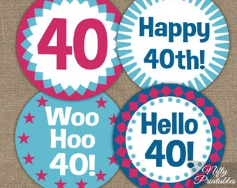 40th Birthday Cupcake Toppers 40th Birthday Party