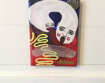 """Whisper  ~   Embroidered Acrylic Painting on 5"""" x 7"""" Canvas by Sam Pletcher  ~  Contemporary Artwork"""