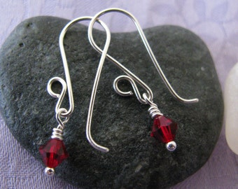 Swarovski Rudy Red Sweet 16 Earrings, July Birthstone Jewelry, July Birthstone Earrings, Ruby Earrings, Crystal Earrings, Red Earrings
