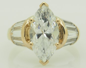 14K Yellow Gold 3.85ctw Cubic Zirconia Marquise w/Baguettes Engagement Ring 4.75; sku # 5337