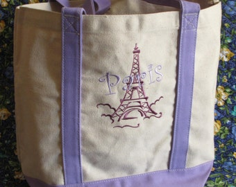 Custom Embroidered Tote Bag - All Cotton Canvas - Personalized - Eiffel Tower - embroidered - monogrammed - bridesmaid - In 6 color Chooses