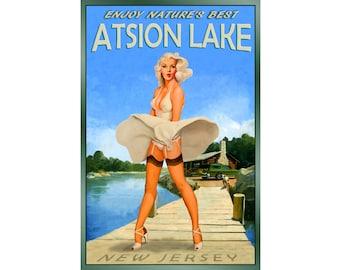 Atsion Lake New Jersey Pine Barrens Marilyn Monroe Travel Poster -in 4 sizes- New Retro Original Wind Blown Skirt Pin Up Art Print 096