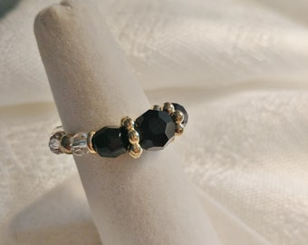 Handmade Stretch Beaded RING Black Golden Clear