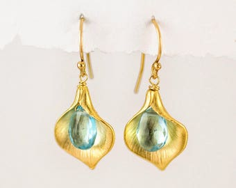 Dainty Blue Topaz Earrings, December Birthstone Earrings, Calla Lilly Earrings, Gift for Mom, Birthday Gift for Her, Birthstone Jewelry