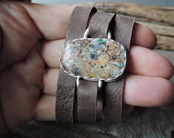 SALE Artisan Jewelry, Silver Bezel Gemstone, Kaleidoscope Jasper, Leather Wrap Bracelet, Southwestern Style, Rustic Handcrafted Urban Rustic