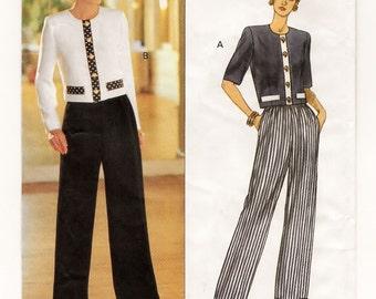 A Waist Length, Long/Short Sleeve Top and Straight Leg Elastic Waist Pants Sewing Pattern for Women: Uncut - Sizes 12-14-16 ~ Butterick 6845