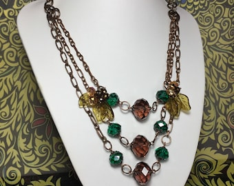 Crystal and Copper Necklace.