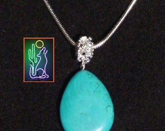 8 gm Turquoise Teardrop Shape Pendant on 18 Inch Steriling Silver 2mm Round Snake Chain