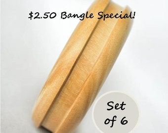 Set of 6 - Bangle Special - Unfinished Grooved Channel Round Wooden - 2.75 in Inner Diameter - Wood Craft Blanks, DIY, Jewelry Supply