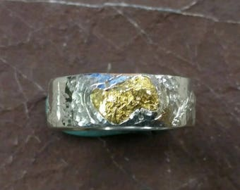 Mountain Lion Gold Nugget  & Sterling Silver Ring