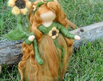 Needle felted wool Fairy - Sunflower Maiden - Needle felted - Waldorf Inspired by Rebecca Varon