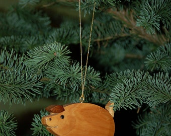 PIG CHRISTMAS ORNAMENT Carving..  This little pig is cute and charming, sure to be a treasured addition to your holiday tree.