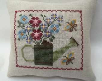 Watering Can And Flowers Cross Stitch Mini Pillow  Spring Summer Mother's Day Shelf Pillow