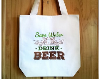 Save Water, Drink Beer Tote Bag Embroidered Canvas - Green Brown Ombre Shopping Bag, Real Ale Beer Lover CAMRA Home Brew Cask Ale Gift, 3563