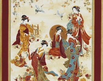 "24"" Fabric Panel - Timeless Treasures Kyoto Geisha & Crane Panel Rust"