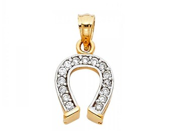 10K Solid Yellow Gold Cubic Zirconia Horseshoe Pendant - Good Luck Necklace Charm
