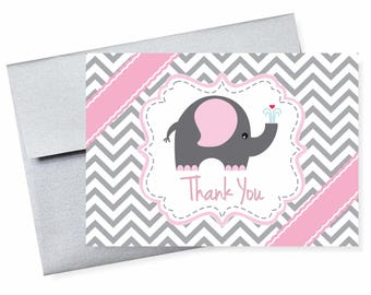Pink Gray Elephant Baby Shower Chevron Thank You Cards Pkg 10