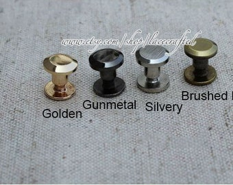 8 Sets 8x7mm Brushed brass silvery Gunmetal golden copper screws rivets Chicago screw/leather screw for bag purse tote handbag coin clutch