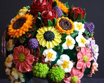 A colorful cupcake bouquet with a variety of garden flowers