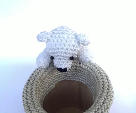 Amigurumi Bunny Pencil Holder : Crochet pen holder cute desk accessories amigurumi pencil