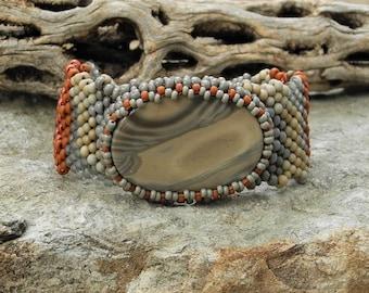 Bijoux - forme libre au point Peyote Bracelet perlé - tissage - bandes Cabochon Agate - BOHO