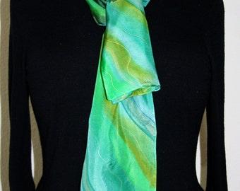 Silk Scarf Handpainted. Green, Emerald Hand Painted Silk Shawl. Handmade Silk Scarf MORNING WAVES. Size 8x54. Birthday, Bridesmaid Gift.