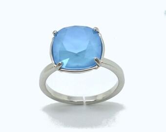 Square ring ring, Swarovski square solitaire ring, Swarovski ring, ring sky blue, silver plated Adjustable ring