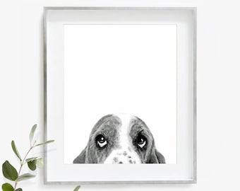 Basset Hound Print, Basset Hound, Dog Poster, Watercolor Art, Nursery Print, Printable Wall Art, Instant Download, Dog Print, Gift