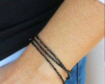 Minimalist black spinel bracelet. Minimalist black spinel necklace or triple wrap bracelet. Black spinel triple wrap bracelet.