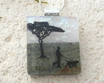 Dog Necklace, Dichroic Jewelry, Dichroic Pendant, Dog In Park, Fused Glass Jewelry, Necklace, White Green Pendant,  ccvalenzo, 062517p102