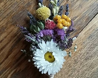 Beautiful Bespoke Wedding Buttonholes. Made from dried flowers and grasses for a rustic, vintage or country feel. Lavender, daisy, larkspur