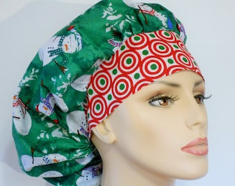 Holiday Scrub Hats Medical Bouffant - Snowman and Snowflkes on Green with a Red and Green Headband Scrub Hat