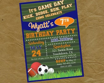 SPORTS Birthday Party Invitation - Digital Personalized File to Print