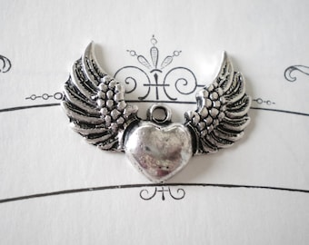 winged heart charms silver 6  jewelry supplies 28.5mm 36.5mm WHC