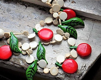 FREE SHIPPING Vintage Wooden Cherry Necklace