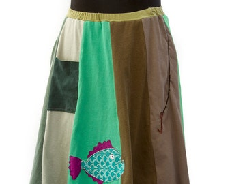 T-Skirt | upcycled, recycled green/brown/khaki t-shirt skirt with fish and hook appliqué + pocket
