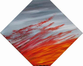 Original oil painting sunrise clouds - with words