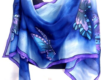 "Hand Painted Silk Scarf, Butterflies Silk Scarf, Midnight Blue Purple Black, 71"" x 18"" Silk Scarf, Gift For Her"