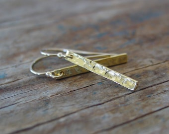 Hammered Gold Bar Earrings, Gold Stick Earrings, Gold Drop Earrings, Simple Earrings, Lightweight, Minimalist, Everyday Modern Jewelry
