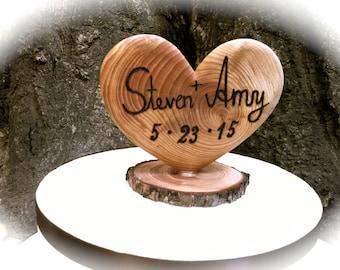 Rustic Wedding Cake Topper, Wooden Heart Cake Topper, Wedding Cake Topper, Fall Wedding Cake Topper, Heart Cake Topper, Fall Weddings