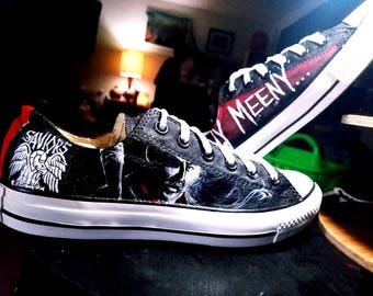 The Walking Dead Negan and Lucille Handpainted Shoes on Converse