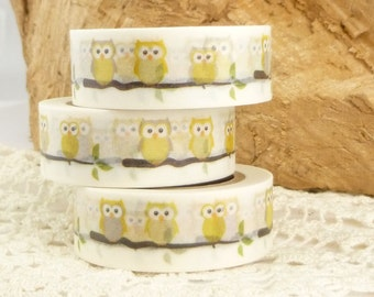 Yellow, Neutral Owls Washi Tape - T1529