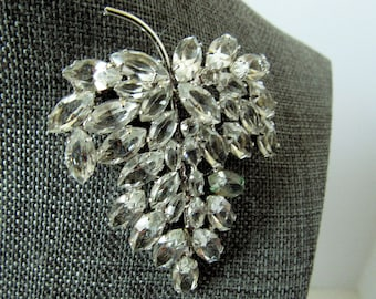Vintage Signed Carl Art Sterling Silver Clear Rhinestone Brooch