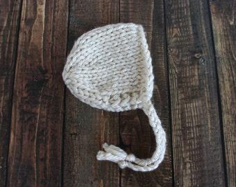 chunky knit newborn bonnet