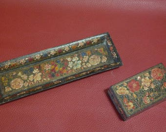 Old Papier Mache Box And Case, Indian Papier Mache, Hand Painted Decoration