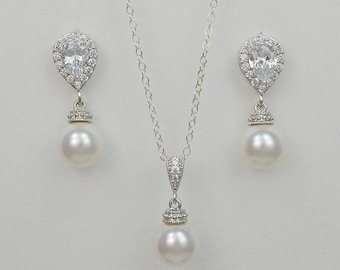 Bridal Cubic Zirconia Crystal Jewelry Set, Swarovski Pearls, Sterling Silver Chain, Kayla Set - Will Ship in 1-3 Business Days