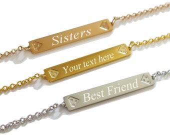 ProLuckis Personalize Gold Bracelet, Engraved Name bracelet, Custom date, Bracelets Sisters, bar bracelet, custom bracelet, date bracelet