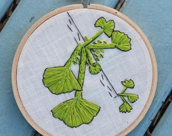 "Hand Embroidered Hoop Art Gingko Tree 4"""